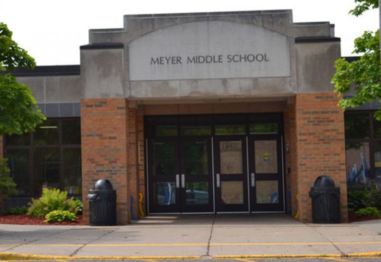 window replacement and door repair at Meyer Middle School